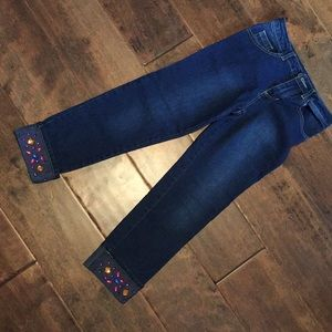 Girly! Sparkly! Jeans with beaded cuffs!